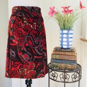 ETCETERA Red & Grey Paisley Velvety A-Line Skirt